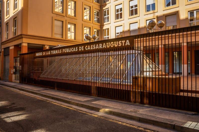 Caesaraugusta det offentliga badmuseet i Zaragoza, Spanien arkivbild
