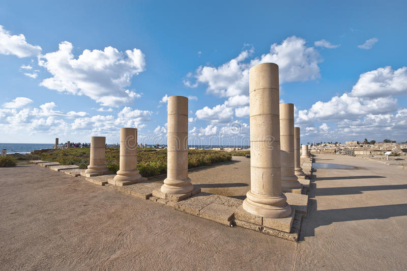 Caesarea Archeological Park. Old marble pillars in the archeological park. Caesarea,Israel stock photos