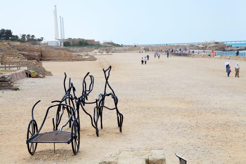 Caesarea ruins royalty free stock photo