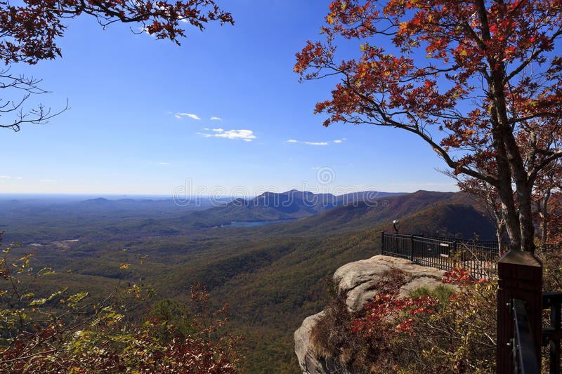 Caesars Head. State Park in upstate South Carolina during the fall. Notice the telescope to view the counties of Greenville and Pickens and Table Rock Mountain royalty free stock image