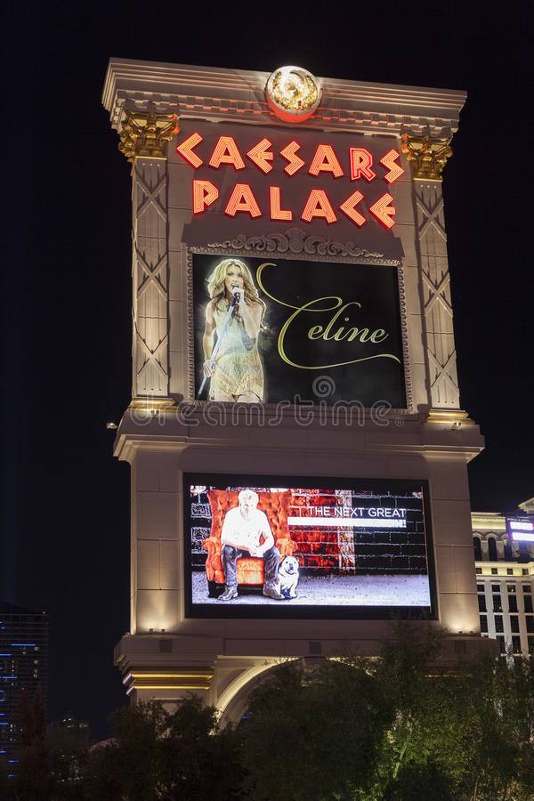 Caesars Palace Hotel sign at night in Las Vegas, NV on August 29, 2013 stock image