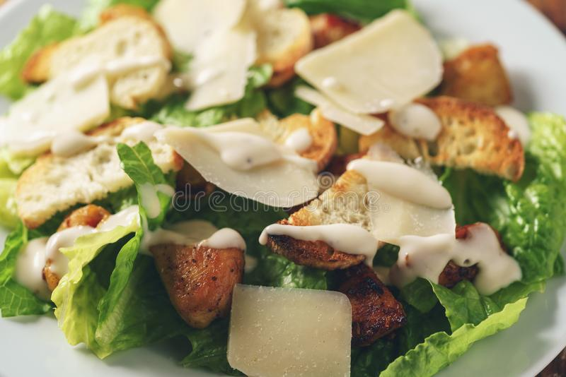 Caesarsalade met close-up stock foto