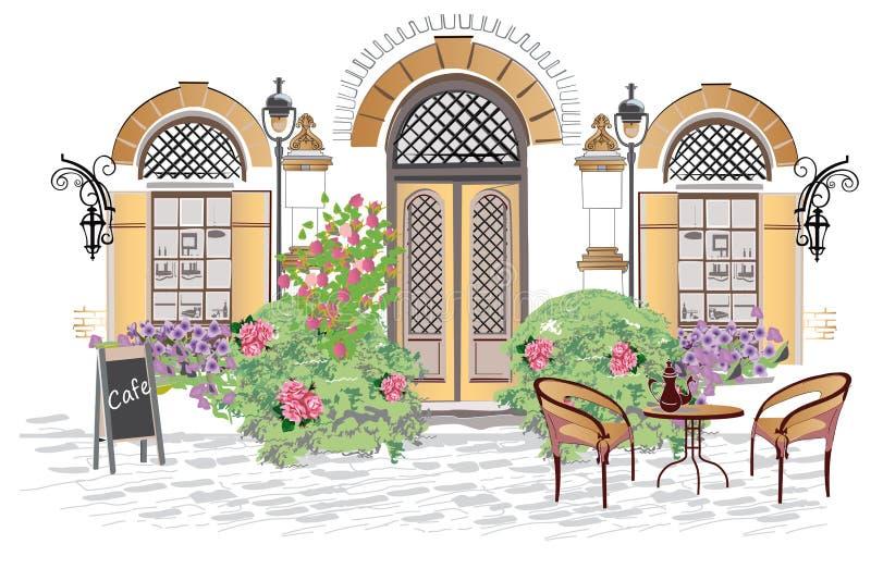 Café-Eingang verziert mit Blumen und dem Grün stock abbildung