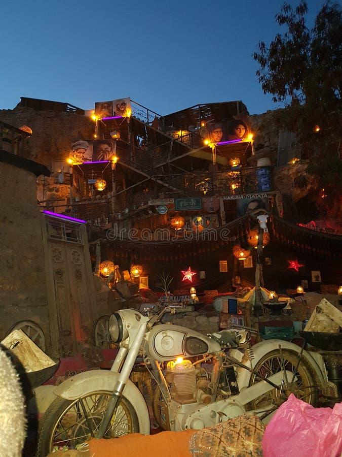 Café exterior no xeique do EL de Sharm fotografia de stock royalty free