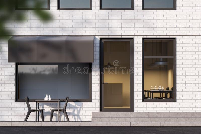 Caféäußeres des weißen Ziegelsteines im Freien stock abbildung