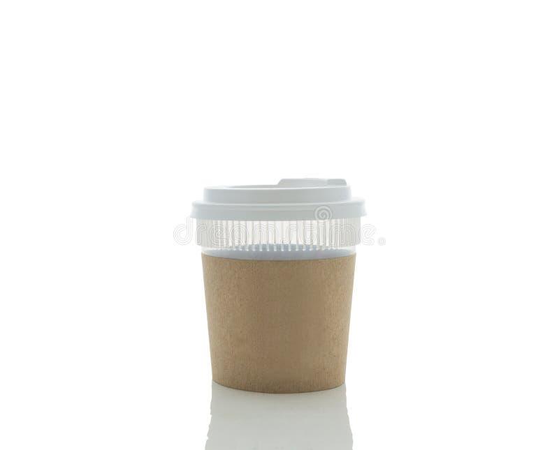 Café à emporter dans la cuvette thermo D'isolement photographie stock