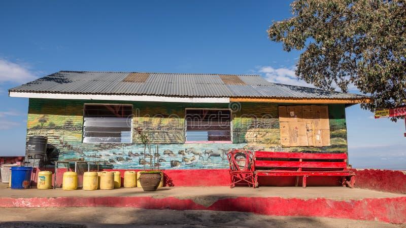 Café à la route du l'AMI-Mahiu Narok de Kamandura près de la grande crevasse photo stock