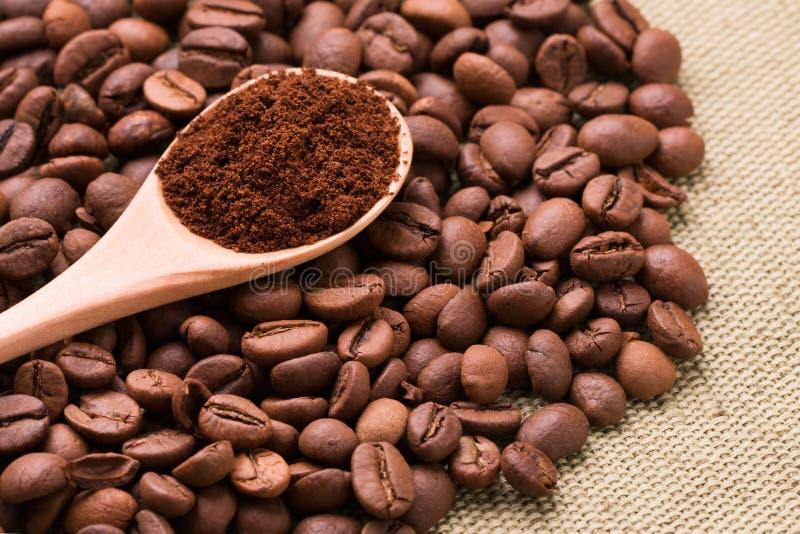 Café à terra em uma colher de madeira Café à terra e grões fotos de stock royalty free