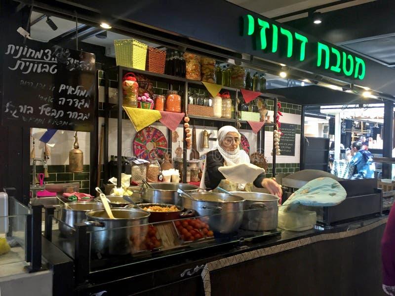 Café árabe de la comida de la calle, Tel Aviv, Israel imagen de archivo libre de regalías
