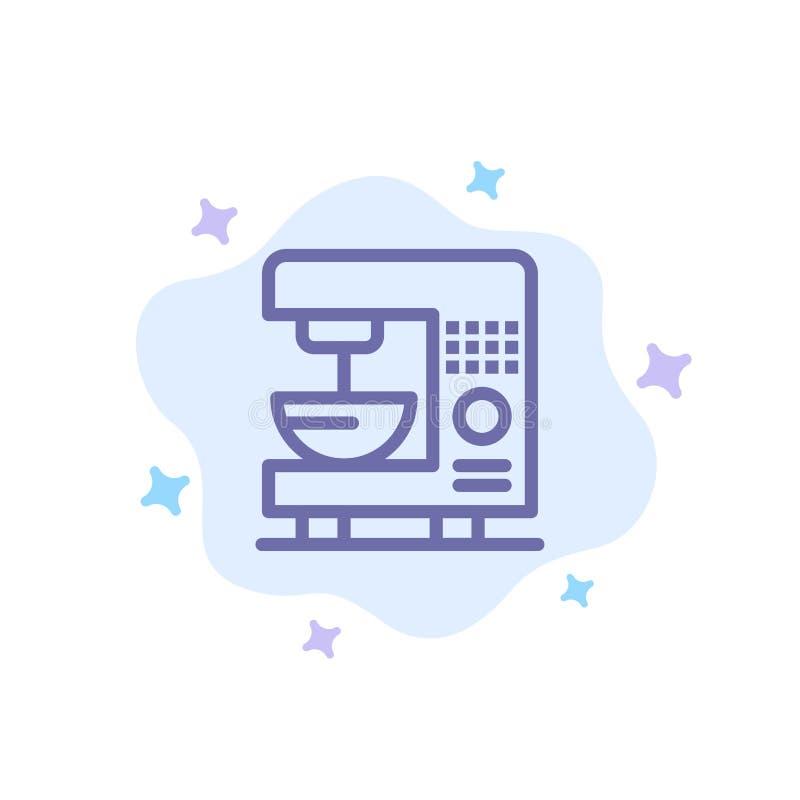 Café, électrique, à la maison, icône bleue de machine sur le fond abstrait de nuage illustration stock