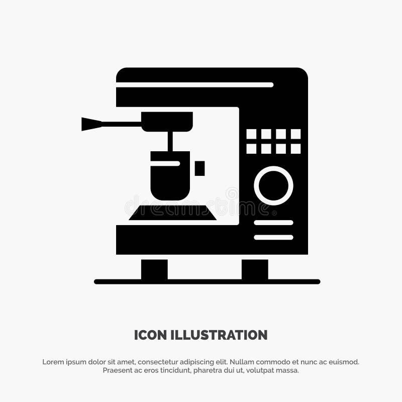 Café, électrique, à la maison, icône noire solide de Glyph de machine illustration de vecteur