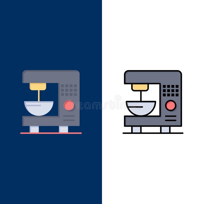 Café, électrique, à la maison, icônes de machine L'appartement et la ligne icône remplie ont placé le fond bleu de vecteur illustration libre de droits