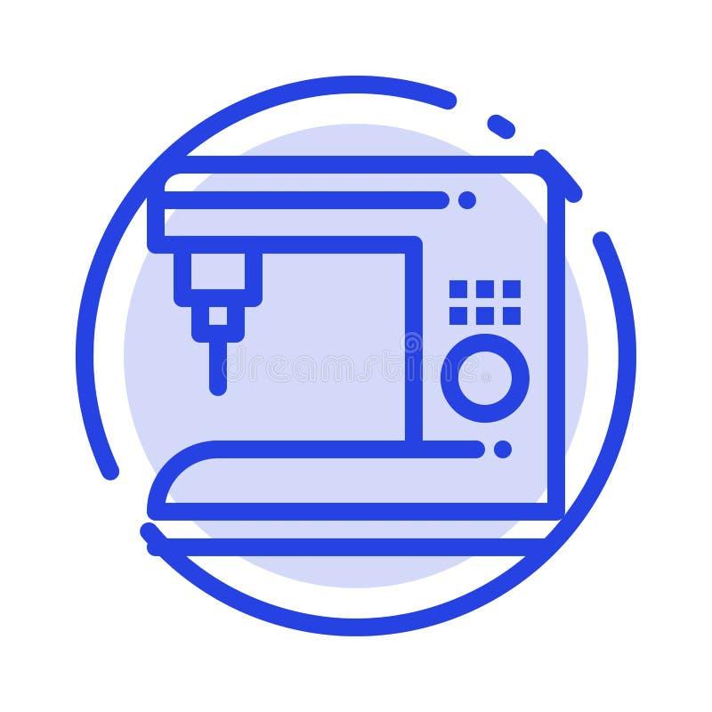 Café, électrique, à la maison, ligne pointillée bleue ligne icône de machine illustration libre de droits