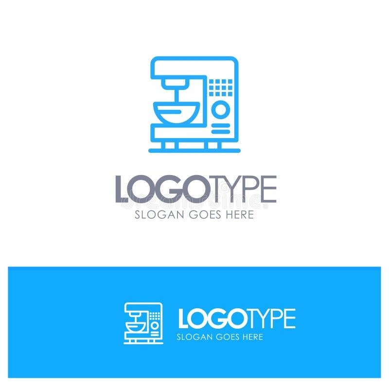 Café, électrique, à la maison, machine Logo Line Style bleu illustration stock