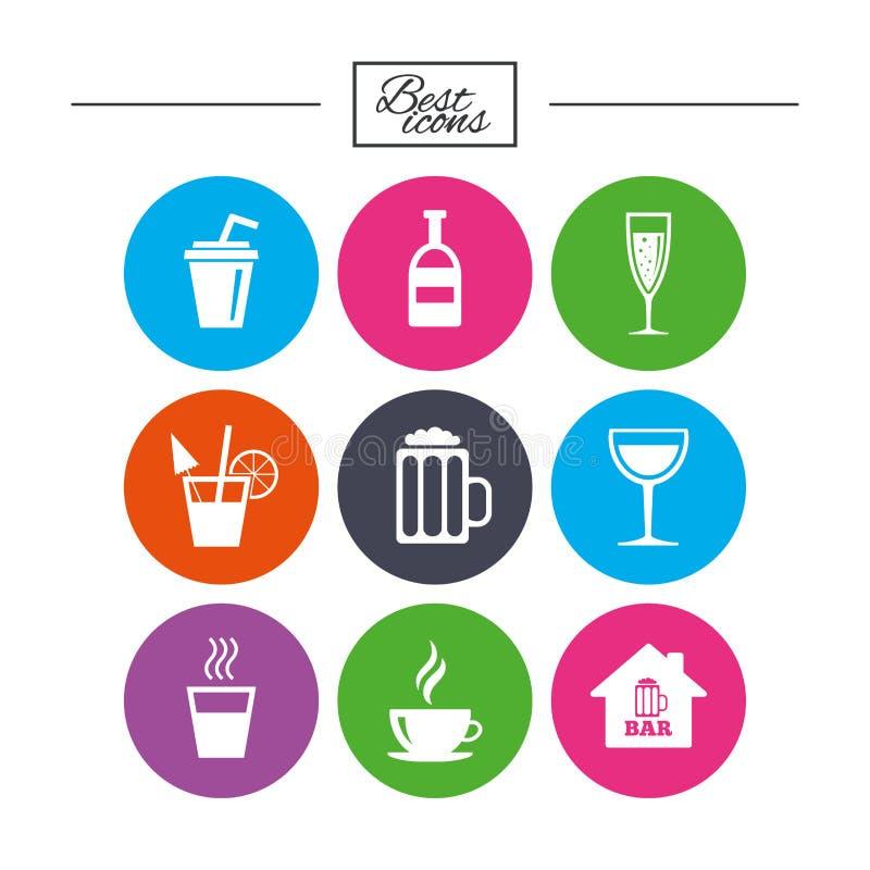Café, ícones do chá O álcool bebe sinais ilustração royalty free