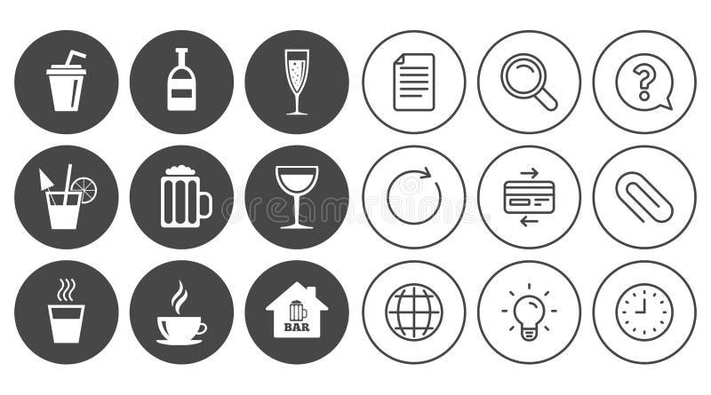Café, ícones do chá O álcool bebe sinais ilustração stock