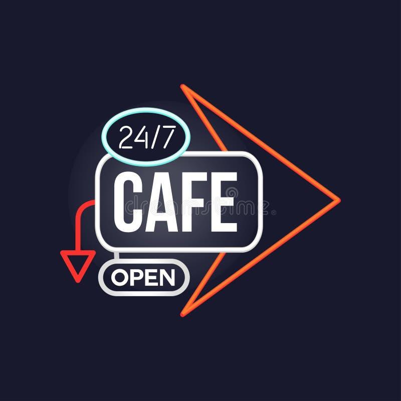 Café öffnen 24 7 Retro- Leuchtreklame, helles glühendes Schild der Weinlese, helle Fahnenvektor Illustration lizenzfreie abbildung