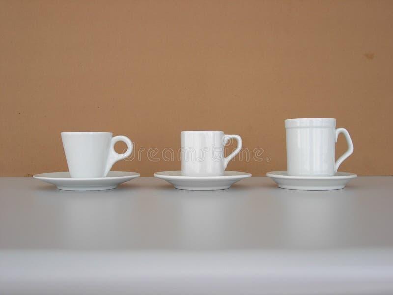 Café 3 cuvettes photographie stock