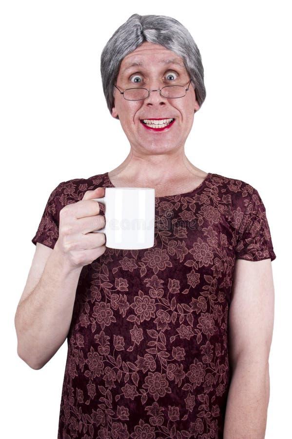 Café aîné mûr laid drôle de boissons de femme photographie stock