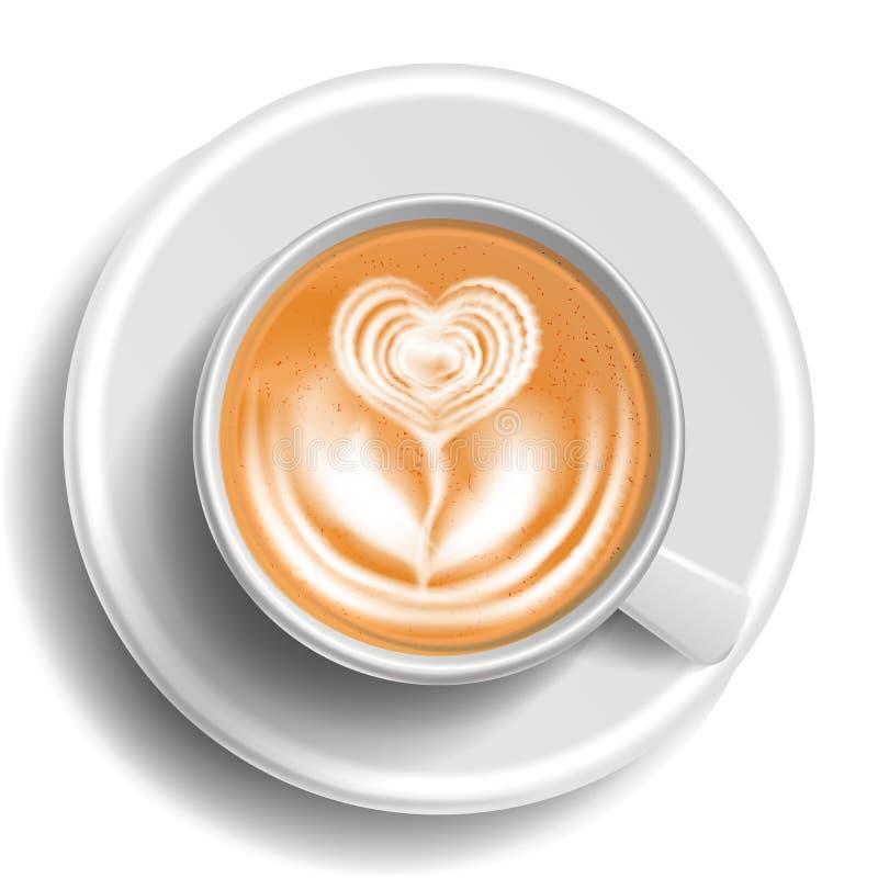 Café Art Cup Vector Visión superior Café caliente del Cappuccino Leche, café express Bebida de la taza de los alimentos de prepar stock de ilustración