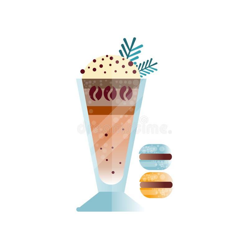 Café avec des copeaux de crème à fouetter et de chocolat sur le dessus Dessert multicouche doux en verre et macarons plat illustration libre de droits