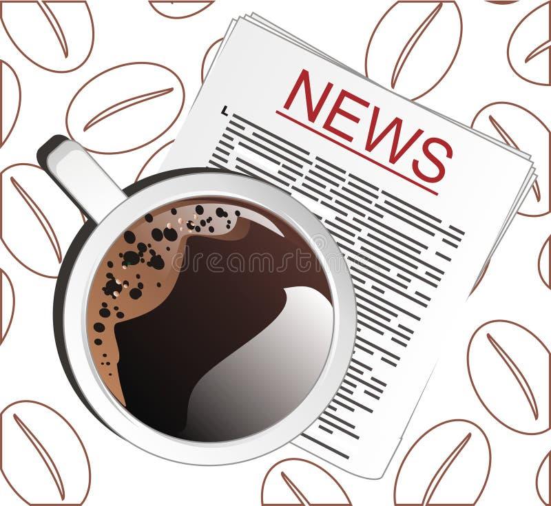 Café avec des nouvelles sur le fond avec des grains illustration stock
