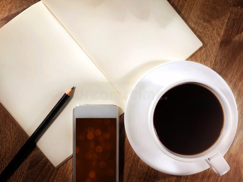 Café avec le cahier photo libre de droits