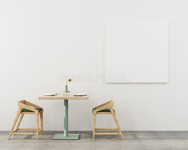 Café avec une table en bois et deux chaises illustration libre de droits