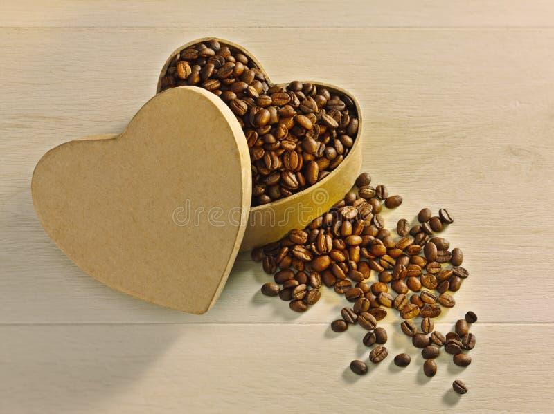 Café Bean Heart do amor fotos de stock royalty free