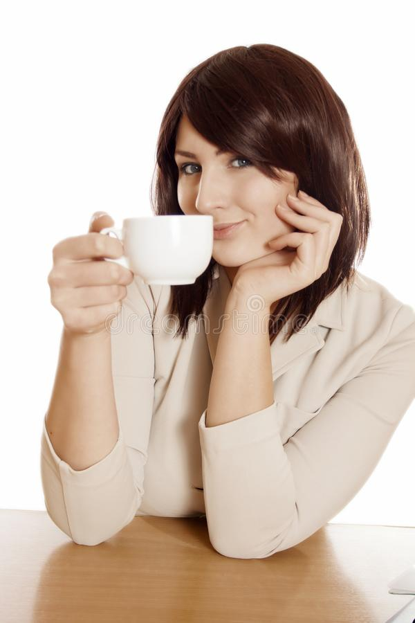 Café bebendo da mulher de negócio fotos de stock royalty free