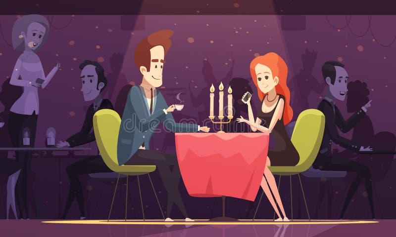 Café bebendo dos pares novos no restaurante ilustração do vetor
