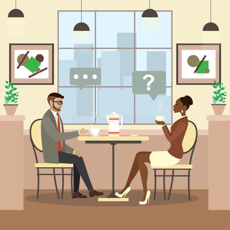 Café bebendo dos povos da beleza em um café ilustração royalty free