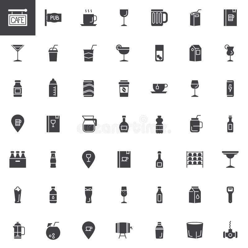 Café, bebidas da barra e ícones do vetor das bebidas ajustados ilustração royalty free