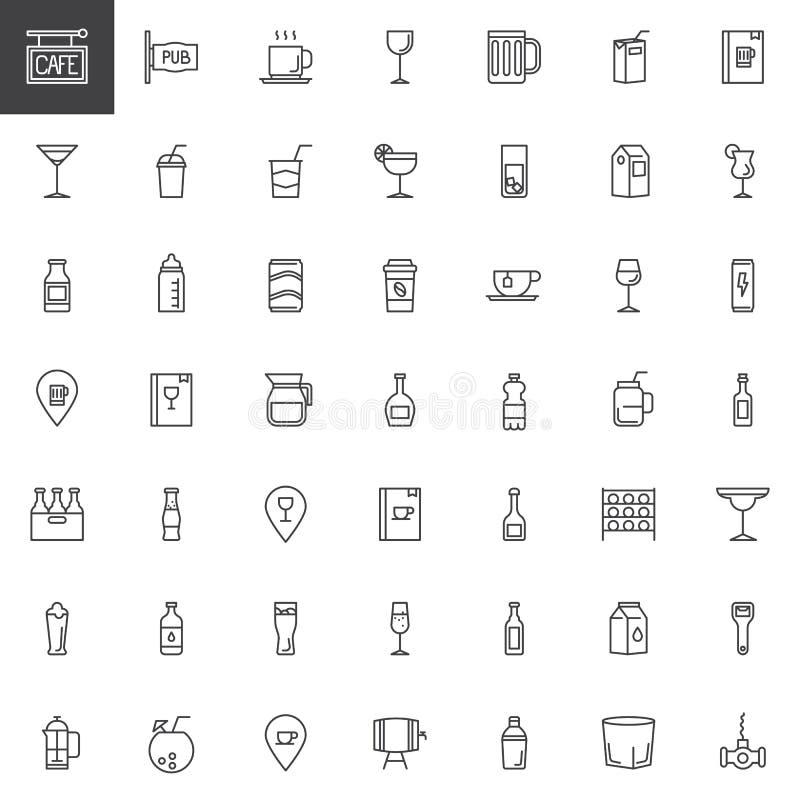 Café, bebidas da barra e linha ícones das bebidas ajustados ilustração stock
