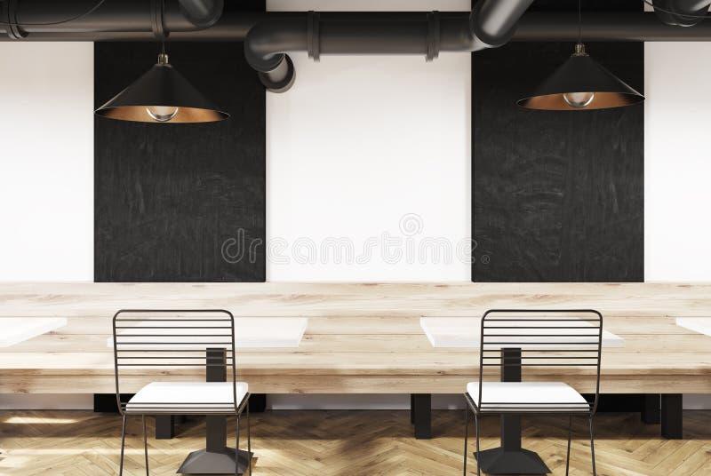 Café blanc avec des bancs et des tableaux noirs illustration libre de droits