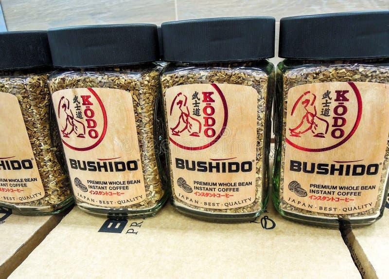 Café Bushido prêt à être vendu sur l'étagère images stock