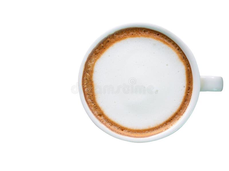 Café caliente con leche de la espuma imagenes de archivo