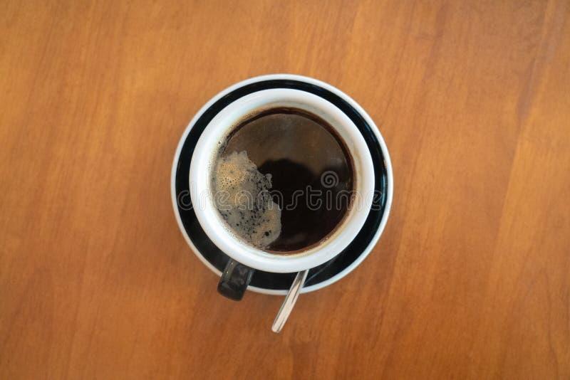 Café caliente de la visión superior fotografía de archivo