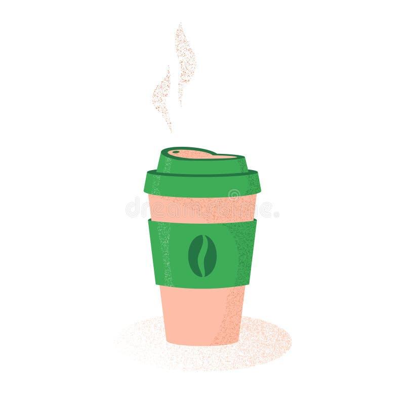 Café caliente en taza con el vapor, ejemplo en estilo plano con textura, café a ir, taza disponible del vector con café fotos de archivo libres de regalías