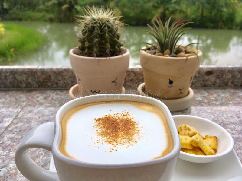 Café caliente servido del capuchino en el jardín imagen de archivo libre de regalías