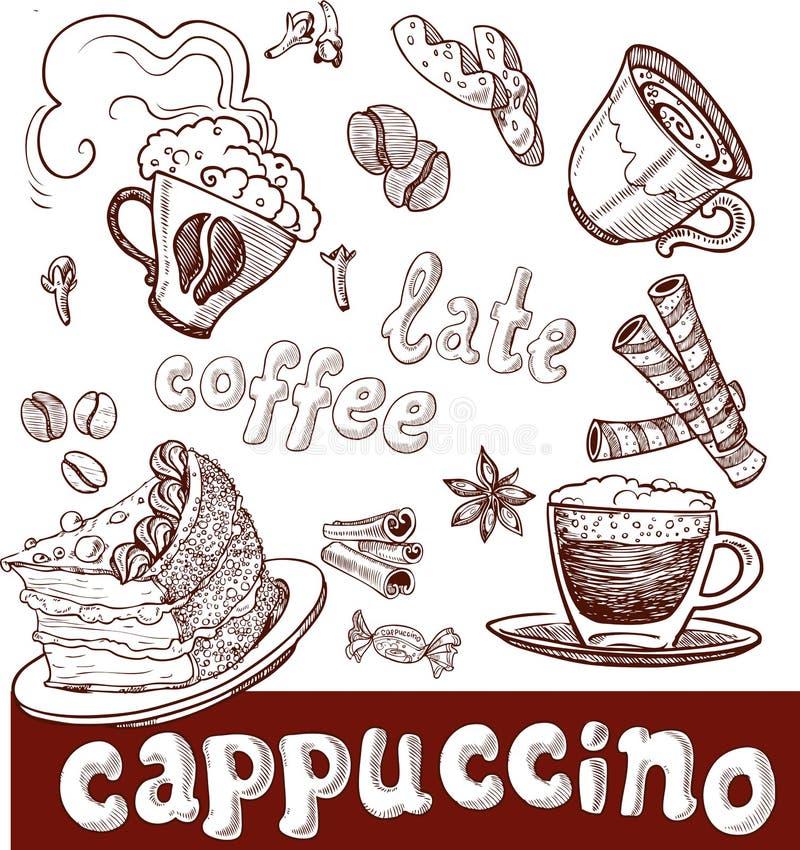 Café, cappuccino, tard et bonbons. écriture illustration libre de droits