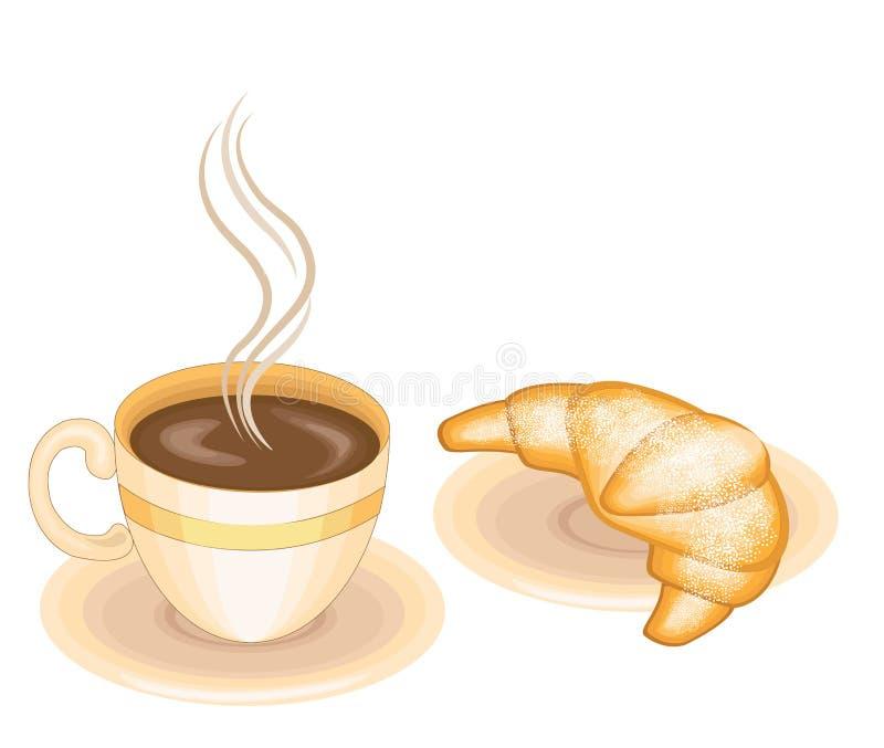 Café chaud avec le croissant frais, cuisine française classique Nourriture délicieuse pour le petit déjeuner, la détresse et le d illustration stock