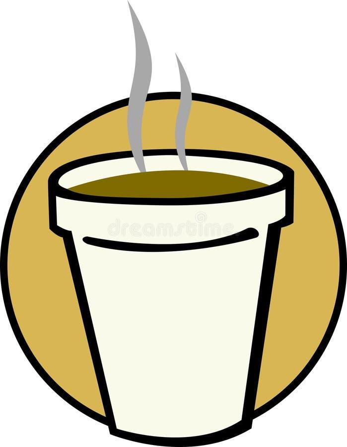 Café chaud dans la cuvette de mousse de styrol illustration libre de droits