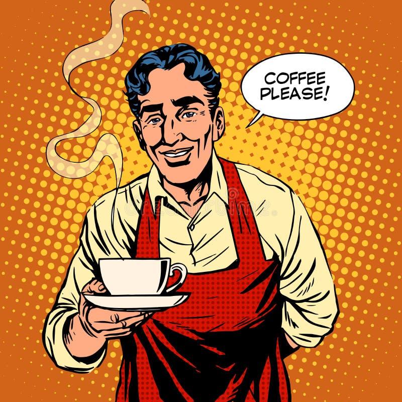 Café chaud de barman illustration de vecteur