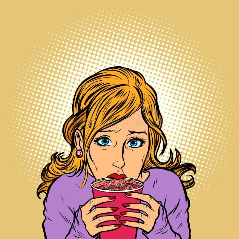 Café chaud de tasse de papier de jeune femme illustration stock