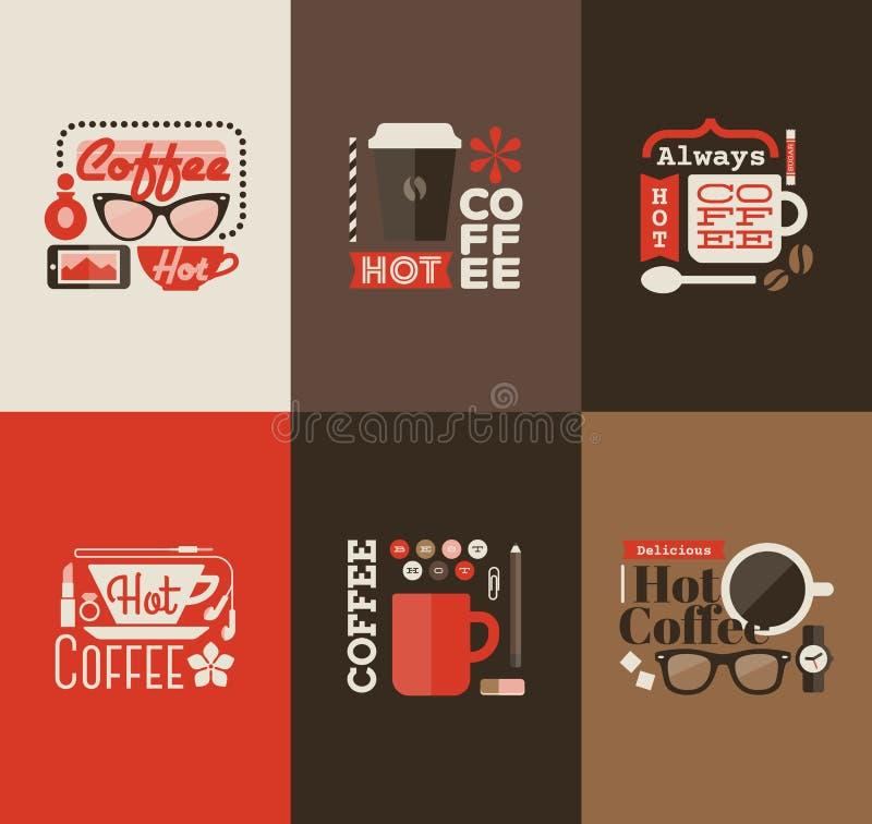 Café chaud. Ensemble d'éléments de conception de vecteur illustration libre de droits