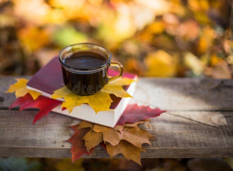 Café chaud et livre rouge avec des feuilles d'automne sur le bois image stock