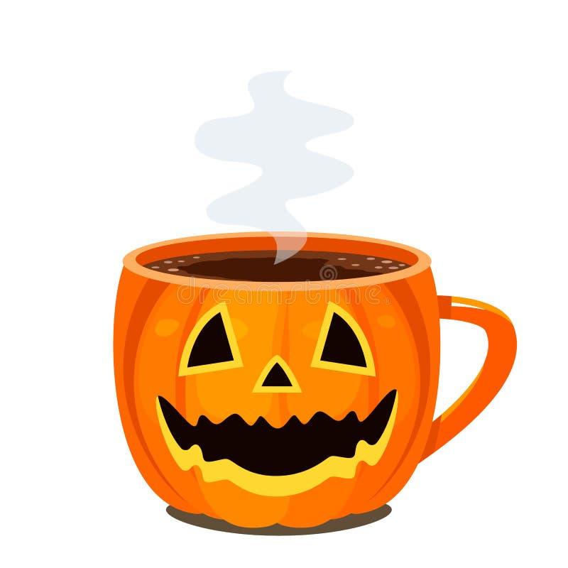 Café, chocolat ou thé chaud dans une tasse sous forme de potiron - la lanterne de Jack illustration stock