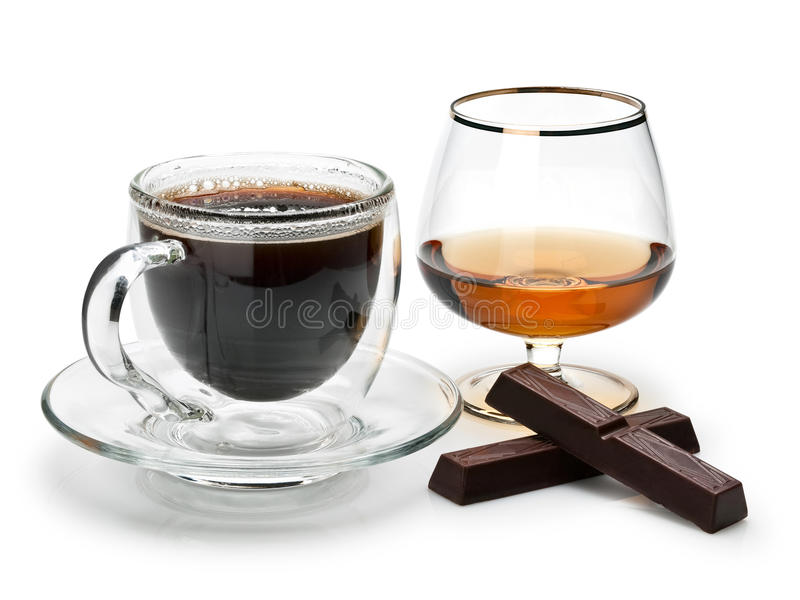 Café, coñac y chocolate imagen de archivo