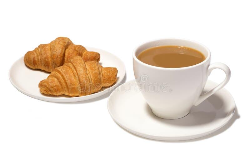 Café com leite e croissant fotos de stock royalty free